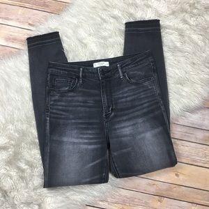 A&F | High Rise Raw Hem Charcoal Skinny Jeans